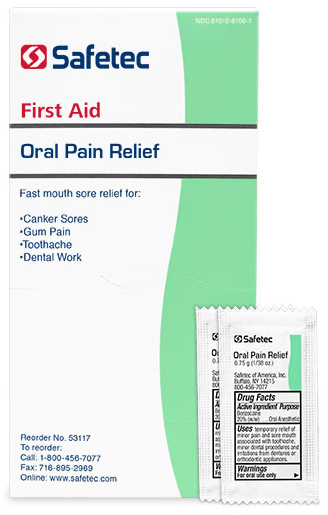 Safetec<sup>&reg;</sup> Oral Pain Relief Gel, .75g Packets, 144/bx