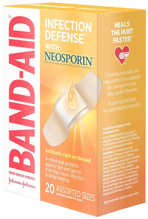 Johnson & Johnson Band-Aid<sup>®</sup> Antibiotic Bandages, Assorted, 20/pkg