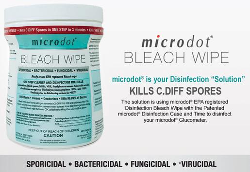 Microdot<sup>®</sup> Bleach Wipes, 6&rdquo; x 6&rdquo;, 160/tub