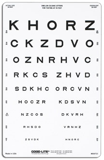 Good-Lite Snellen/Sloan Letter Linear-spaced Visual Acuity Chart, 10 Foot