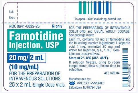 Famotidine Injection, USP, 10mg/mL, 2mL Single-dose Vial