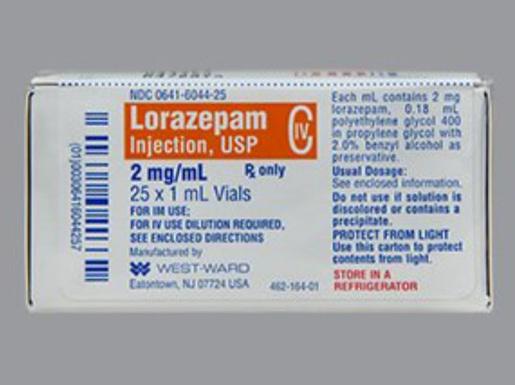 Lorazepam 2mg, 1mL Vial