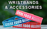 StopGator Soft Vinyl 'Food Allergy' Wristbands, Blue