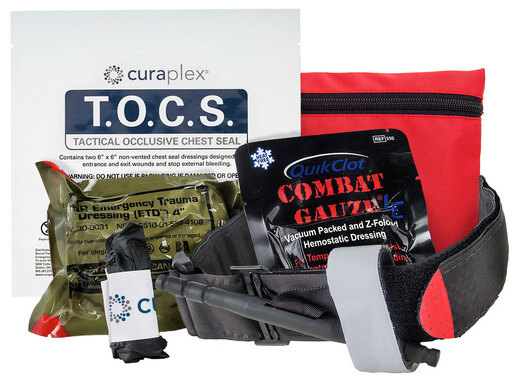 Curaplex<sup>®</sup> Officer Down Basic IFAK, w/ C-A-T Tourniquet, Red Response Pouch