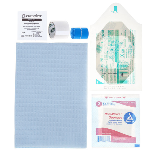 Curaplex® IV Start Kit with Tegaderm, Alcohol Prep Pad, Gauze Sponge, Clear Tape and Tourniquet
