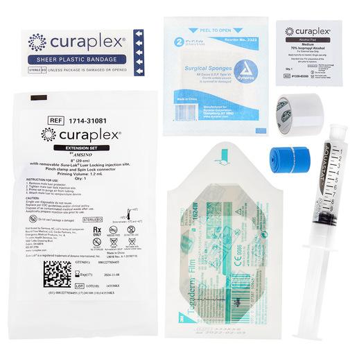 Curaplex<sup>®</sup> IV Start Kit with Tegaderm, Extension Set, Flush Syringe, Gauze Sponge, Alcohol Prep Pad, Tourniquet and Tape