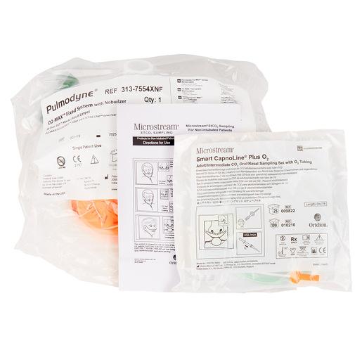 Curaplex® CPAP/Capno Kit, O2 MAX Guard, Bitrac ED Mask, Fixed Flow, Large, 5-Set Valve