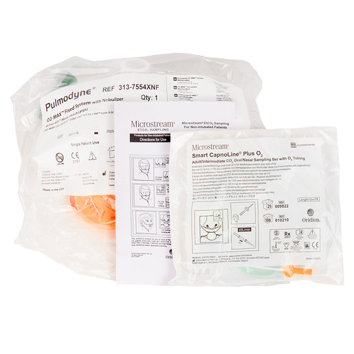 Curaplex® CPAP/Capno Kit, O2 MAX Neb Guard Bitrac ED Mask, Large, 3-Set Valve