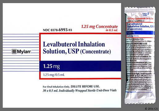 Levalbuterol Inhalation Solution, USP, 1.25mg/0.5mL, Individually Wrapped