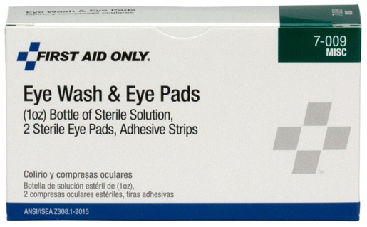 First Aid Only<sup>&reg;</sup> Pac-Kit Eye Wash and Dressing Pack with Pads and Strips, 1oz Solution