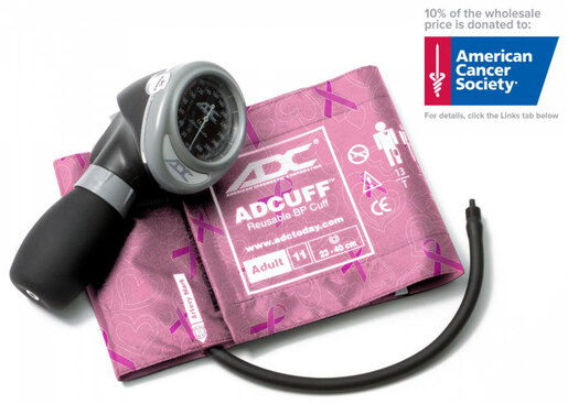 ADC<sup>®</sup> Diagnostix<sup>™</sup> 703 Palm Blood Pressure Cuff/Aneroid Sphyg, Breast Cancer Awareness Edition, Adult