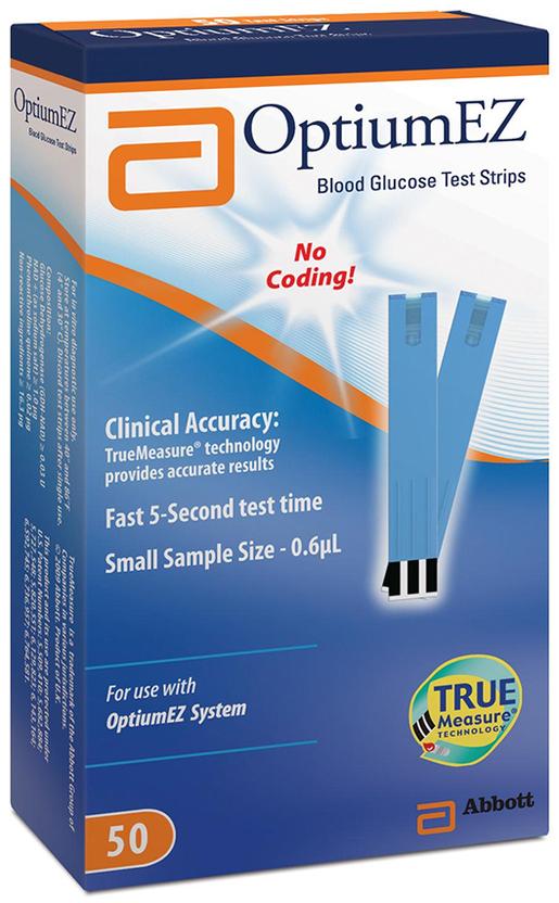 Abbott OptiumEZ Blood Glucose Test Strips, 50/box
