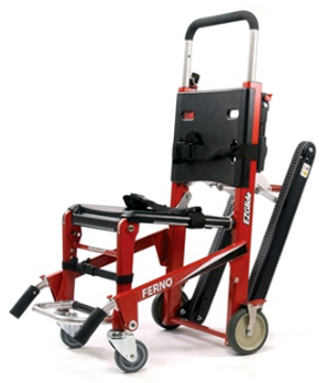 Ferno Model 59-T EZ-Glide<sup>®</sup> with IV Pole, Locking Handles and ABS Panels, Red