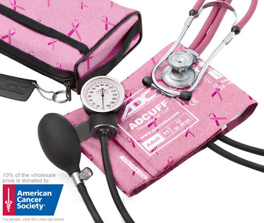 ADC<sup>®</sup> Pro's Combo II<sup>™</sup> SR Pocket Aneroid/Sprague Blood Pressure Kit, Breast Cancer Awareness Edition, Adult