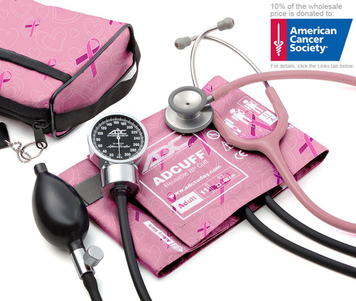 ADC Pro's Combo III<sup>™</sup> Pocket Aneroid/Clinician Scope/Blood Pressure Kit, Breast Cancer Awareness Edition, Adult