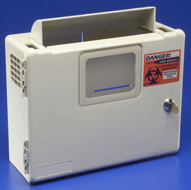 Covidien SharpSafety<sup>™</sup> Wall Enclosure for In-room Sharps Container with Glove Dispenser, 2qt and 5qt