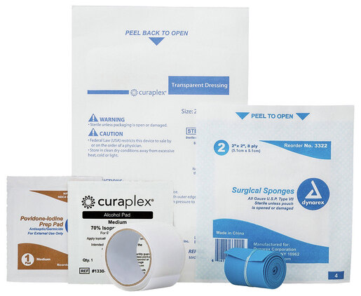 Curaplex<sup>®</sup> Custom Wharton IV Start Kit with Alcohol Prep, IV Dressing, Gauze Sponge, Tape and Tourniquet