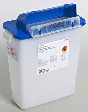 Covidien SharpSafety<sup>™</sup> Pharmaceutical Waste Container with Counterbalance Lid, 3gal