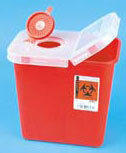 TIDI<sup>&reg;</sup> Multi-purpose Sharps Container with Rotor and Hinged Lids, 8qt, Red