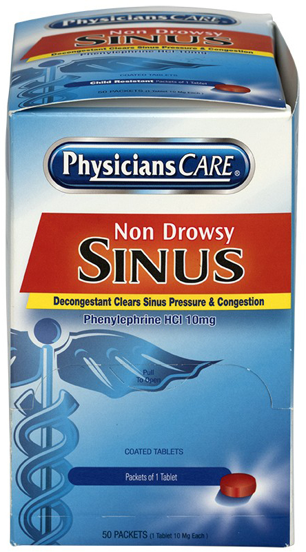 First Aid Only<sup>&reg;</sup> PhysiciansCare<sup>&reg;</sup> Non-drowsy Sinus Decongestant Medication, 50 Doses, 10mg