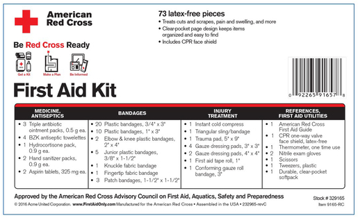 First Aid Only<sup>&reg;</sup> &rdquo;Be Red Cross Ready&rdquo; First Aid Kit, 73-piece
