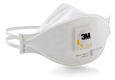 3M<sup>™</sup> Aura<sup>™</sup> N95 Particulate Respirator with Exhale Valve, 9211 Plus