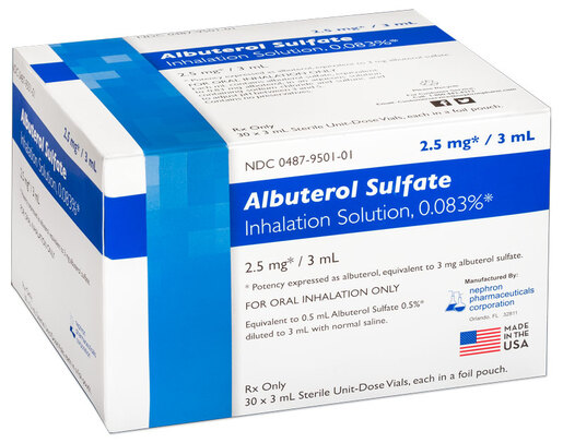 Albuterol Sulfate Inhalation Solution, 0.83%, 2.5mg/3mL Vials