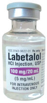 Labetalol HCL Injection, USP, 100mg, 20mL Vial