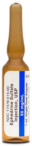Ephedrine Sulfate Injection, USP, 50mg/1mL Ampule