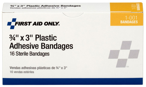 First Aid Only<sup>&reg;</sup> ACME Pac-Kit Plastic Bandages, 3/4&rdquo; x 3&rdquo;