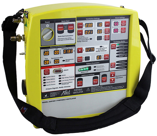 Allied AHP300<sup>™</sup> Transport Ventilator, Yellow