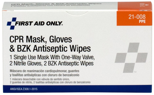 First Aid Only<sup>&reg;</sup> CPR First Aid Pack with Mask, Gloves and Wipes