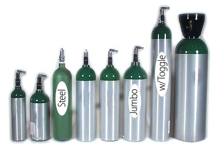 Aluminum Oxygen Cylinder, Size D with Toggle Valve