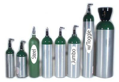 Aluminum Oxygen Cylinder, Size E with Toggle Valve