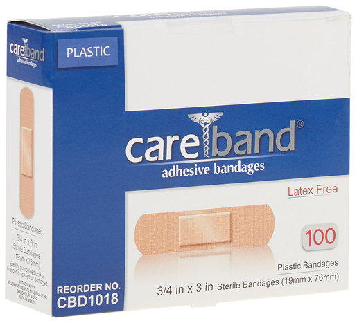 "CareBand Flexible Bandage Adhesive Strips, Plastic, 3/4"" x 3"""