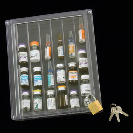 ClearTopBox Narcotics Box with Lock, Clear, 6 Slots