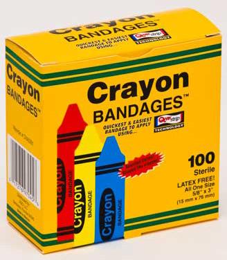 """Crayon Adhesive Bandages<sup>™</sup>, Latex-free, 5/8"""" x 3"""""""