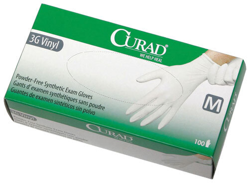 Curad Powder-free 3G Vinyl Exam Gloves, Latex-free