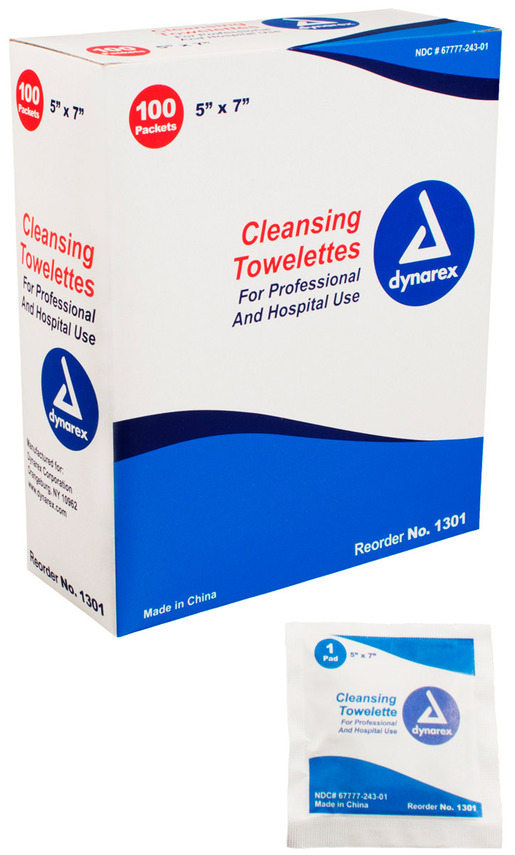 "Dynarex<sup>®</sup> Cleansing Towelettes, 5"" x 7"""