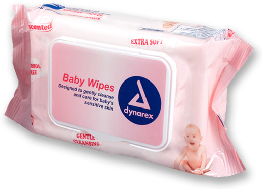"Dynarex<sup>®</sup> Baby Wipes, Unscented, 7"" x 8"", 80 Wipes"