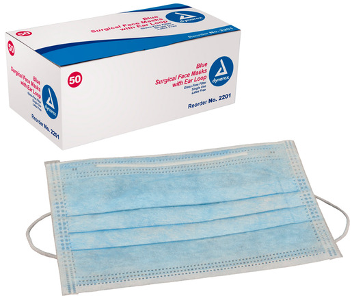Dynarex<sup>&reg;</sup> Surgical Face Mask with Ear Loops, Latex-free, Blue