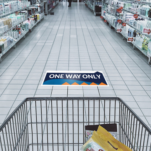 """""""One Way Only"""" Social Distancing Directional Floor Decals, 10-pack"""