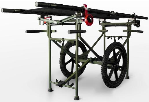 FareTec Wheeled Patient Transport Cart, Orange