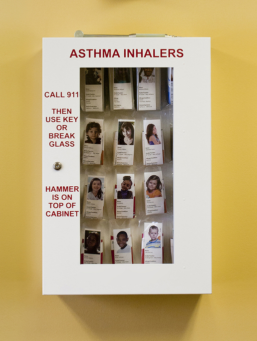 Allergy Emergency Kit<sup>™</sup> School Nurse's Office Asthma Inhaler Locking Cabinet, 20-unit
