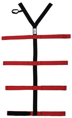 EP&R Spider-Loop Strap with Loop-lock System and Spider Straps, Polypropylene, Red/Black Velcro