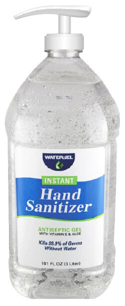 Water-Jel Instant Hand Sanitizer Gel Refill with Pump, 101oz.