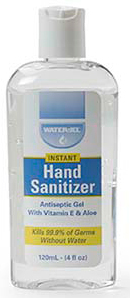 Water-Jel Hand Sanitizer Dispenser Bottle with Aloe and Vitamin E, 4oz