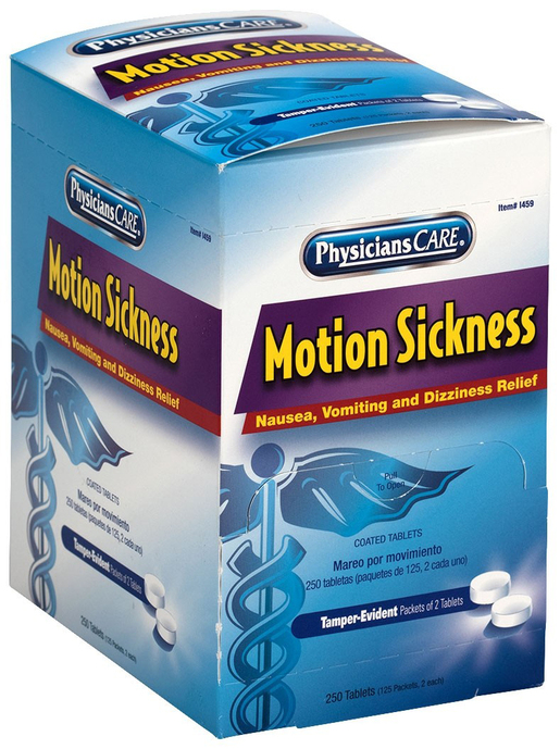 First Aid Only<sup>®</sup> Motion Sickness Tablets, 2 Tablets/Packet, 125 Packets