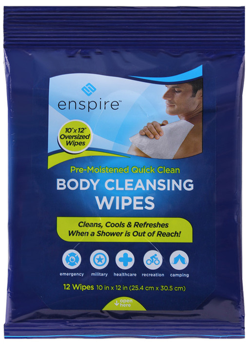 "Enspire<sup>™</sup> Body Cleansing Wipes, 10"" x 12"""