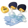CPR Pocket Mask with O2 Inlet, Headstrap, Gloves and Wipe, Yellow Hard Case